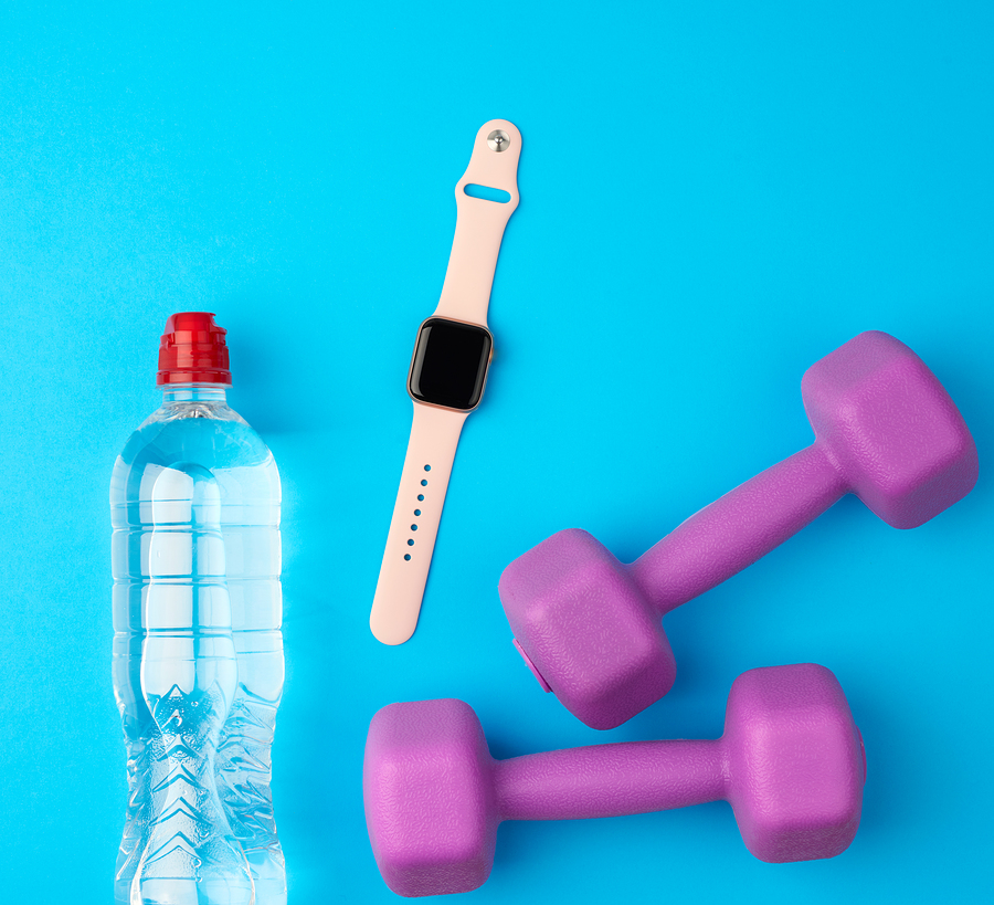 Purple Plastic Kettlebells, A Transparent Bottle Of Water And A Smart Watch; your own product here!